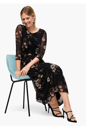 gebloemde semi-transparante maxi jurk zwart/beige