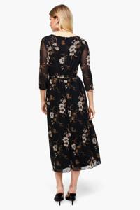 s.Oliver BLACK LABEL gebloemde semi-transparante maxi jurk zwart/beige, Zwart/beige