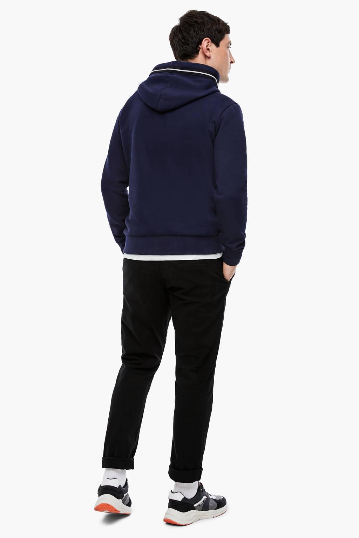 Q/S designed by hoodie met printopdruk donkerblauw, Donkerblauw