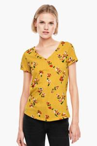 Q/S designed by T-shirt met all over print geel, Geel