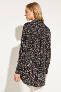 comma blouse met all over print zwart, Zwart