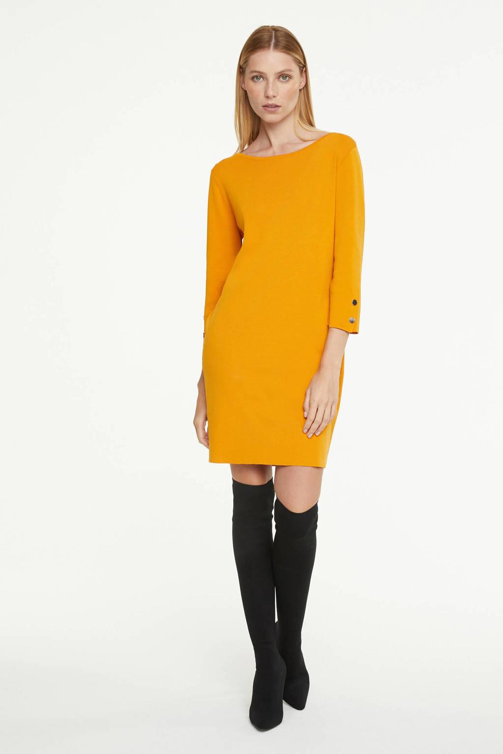 comma fijngebreide jurk okergeel, Okergeel
