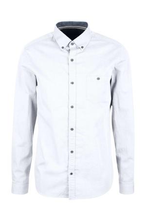 slim fit denim overhemd wit