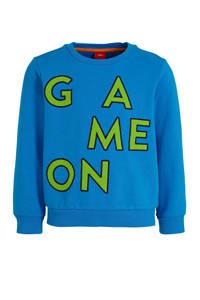 s.Oliver sweater met tekst blauw, Blauw