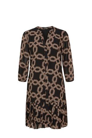 semi-transparante blousejurk met all over print zwart/bruin/wit