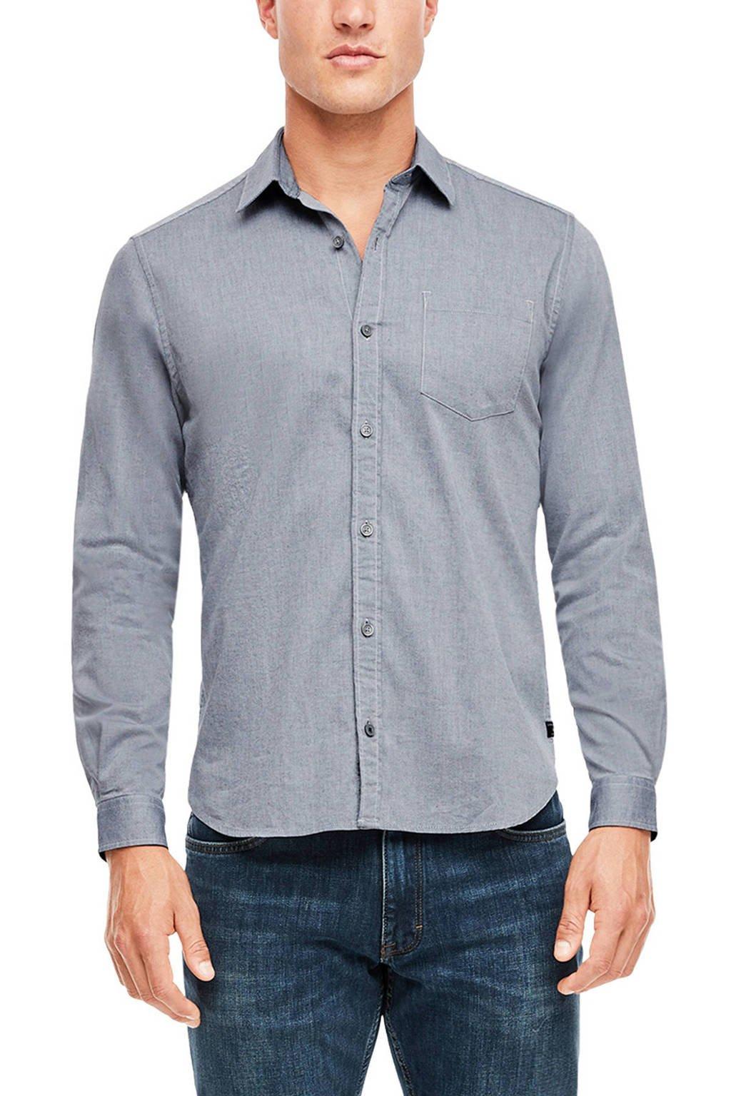 s.Oliver slim fit denim overhemd grijs, Grijs