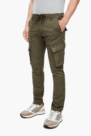 high waist slim fit cargobroek donkergroen