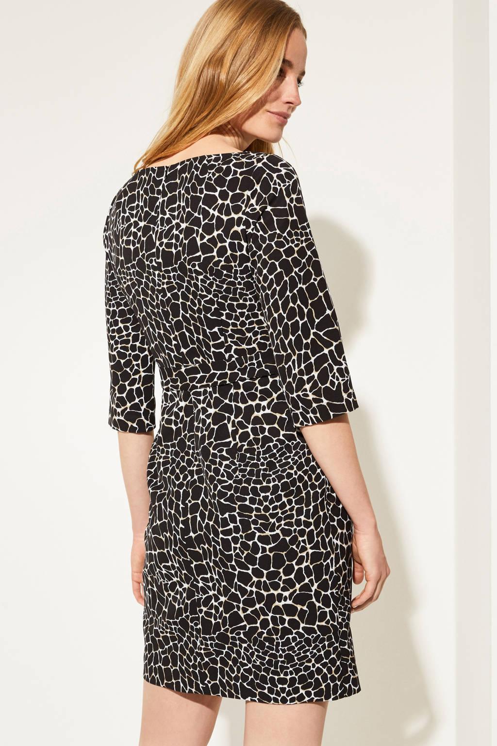 comma jurk met all over print en ceintuur zwart/wit/bruin, Zwart/wit/bruin