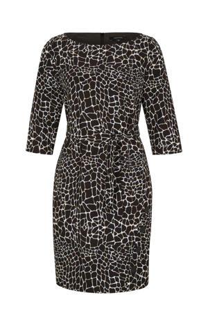 jurk met all over print en ceintuur zwart/wit/bruin