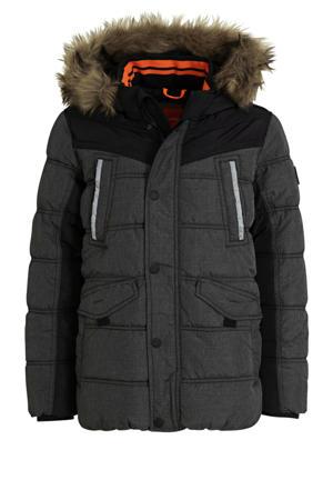 gewatteerde winterjas antraciet/zwart