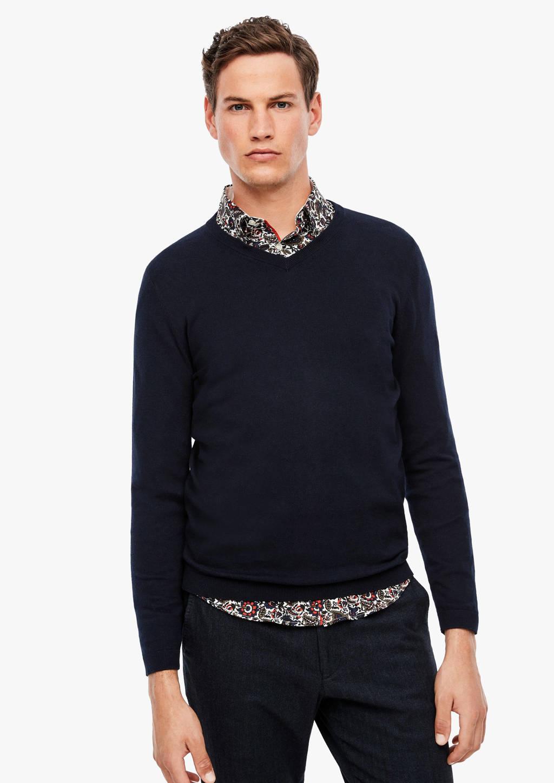 s.Oliver BLACK LABEL fijngebreide trui donkerblauw, Donkerblauw