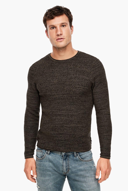 Q/S designed by gemêleerde trui zwart, Zwart