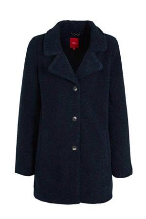 teddy winterjas donkerblauw