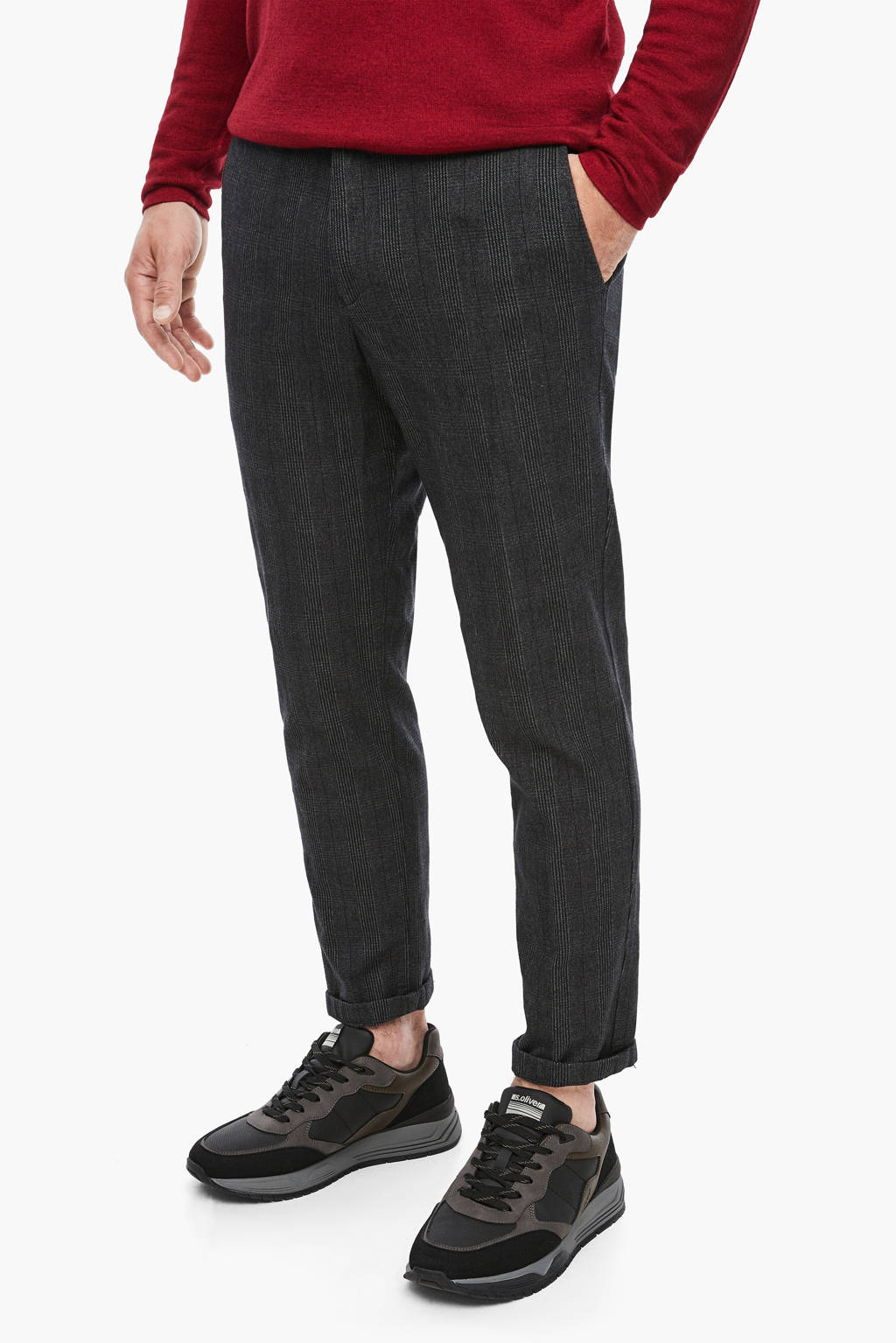 s.Oliver BLACK LABEL geruite slim fit pantalon grijs, Grijs
