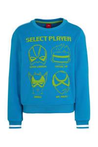 s.Oliver sweater met printopdruk blauw/groen, Blauw/groen