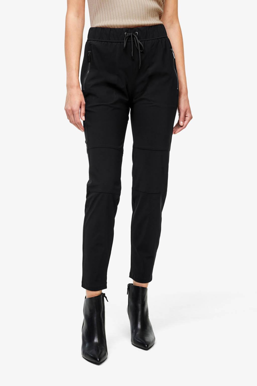 s.Oliver BLACK LABEL cropped slim fit broek zwart/goud, Zwart/goud