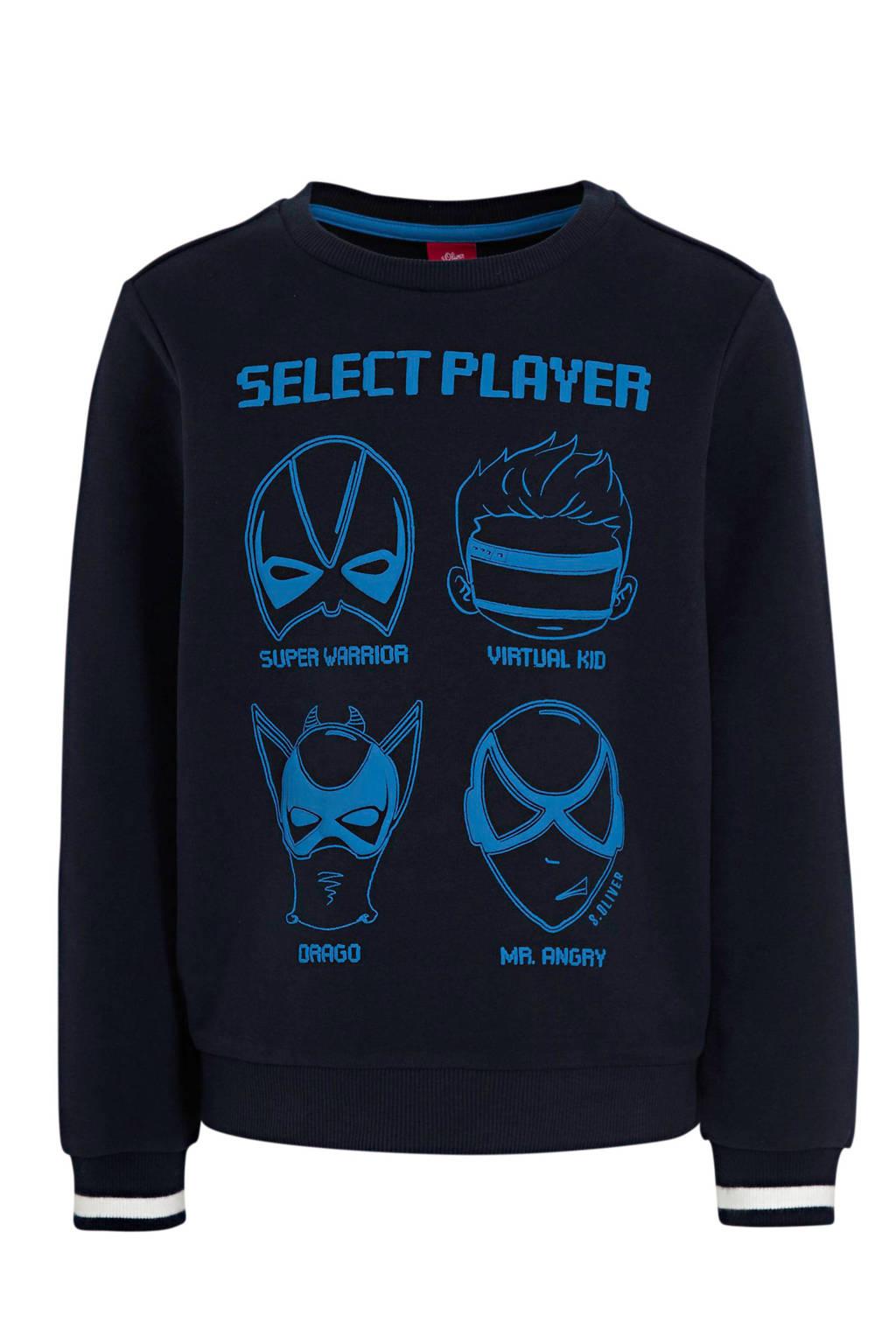 s.Oliver sweater met printopdruk donkerblauw/blauw, Donkerblauw/blauw