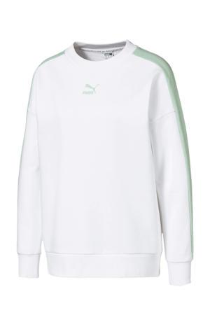 sweater wit/mintgroen