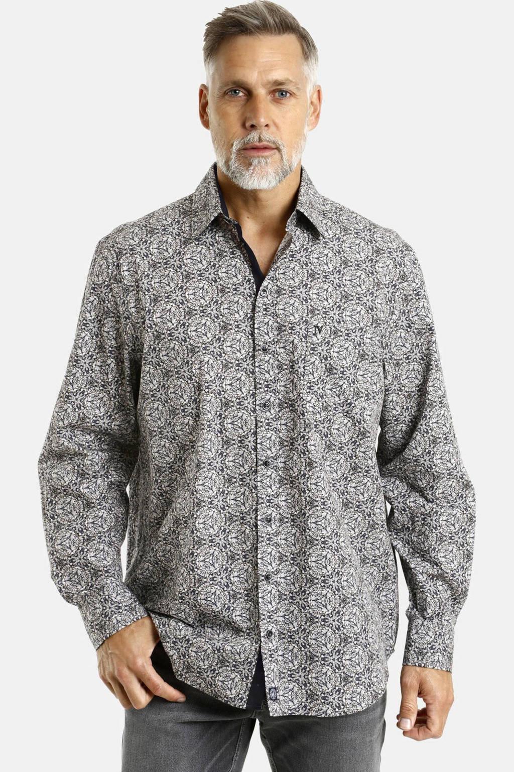 Jan Vanderstorm loose fit overhemd Plus Size Enar met all over print zwart, Zwart