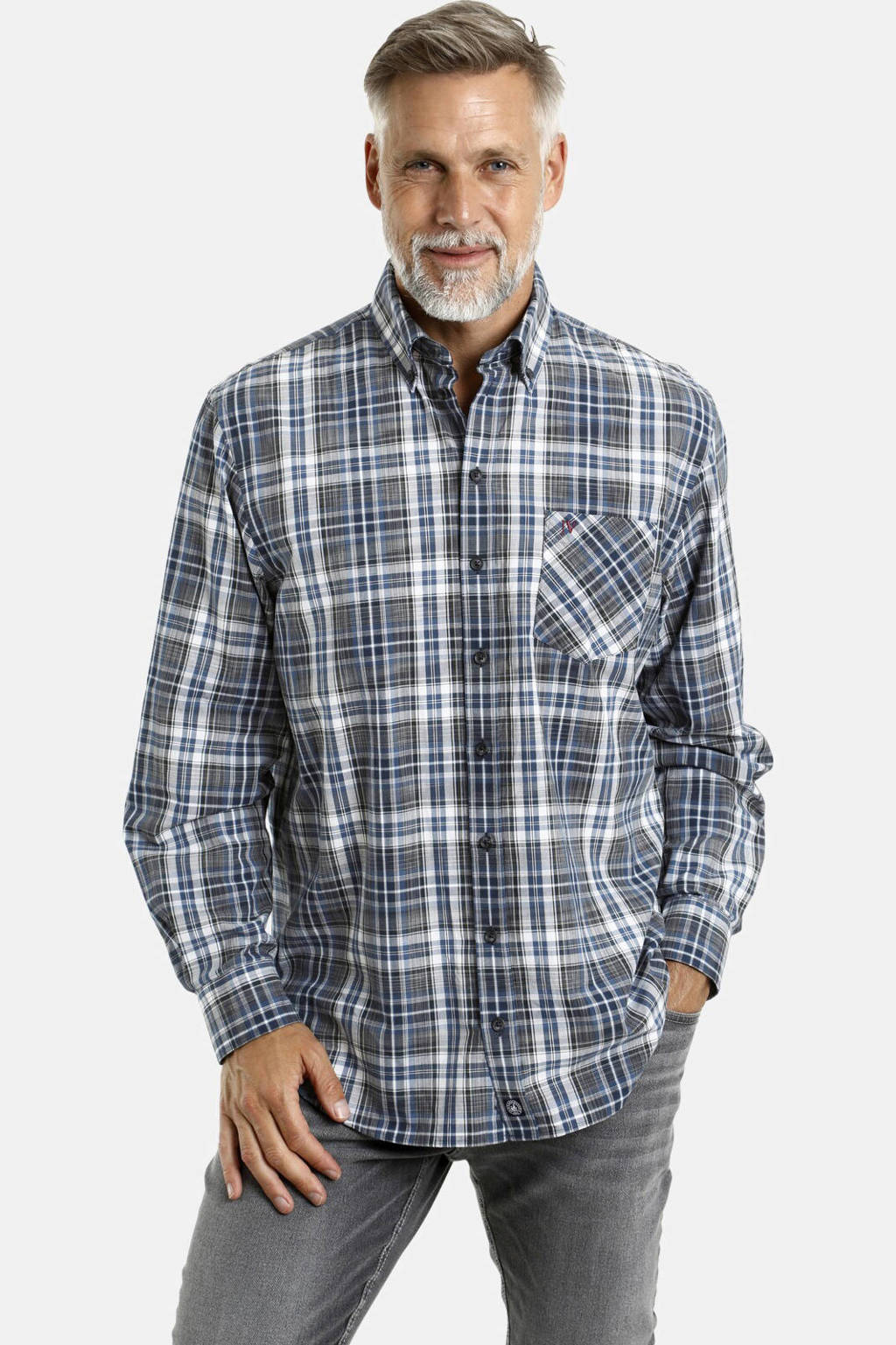 Jan Vanderstorm geruit loose fit overhemd Plus Size Eldir donkerblauw/wit, Donkerblauw/wit