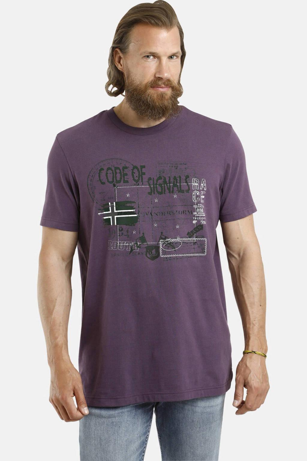 Jan Vanderstorm T-shirt Plus Size Gjurd met printopdruk paars, Paars