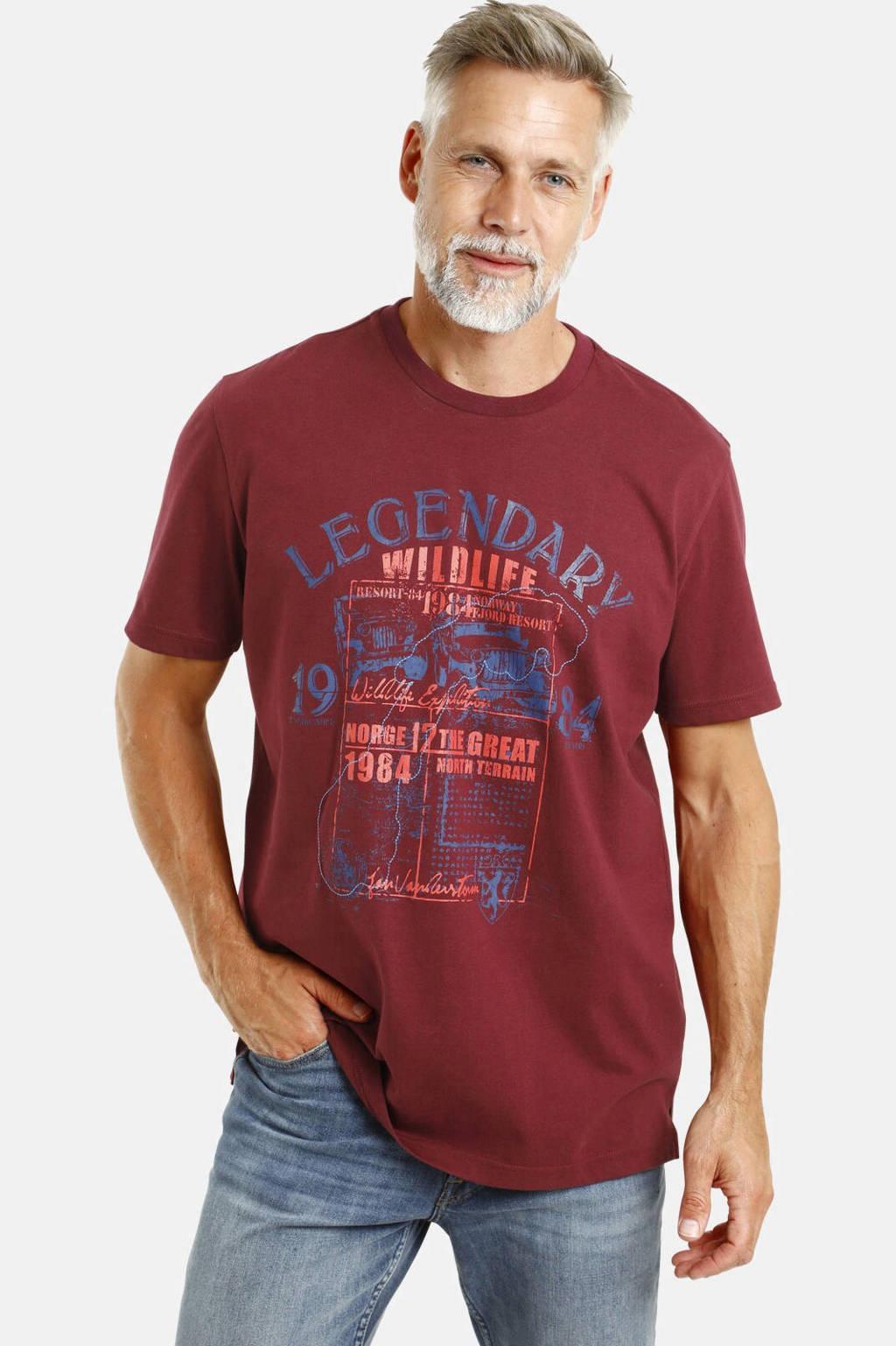 Jan Vanderstorm T-shirt Plus Size Fridhelm met printopdruk donkerrood, Donkerrood