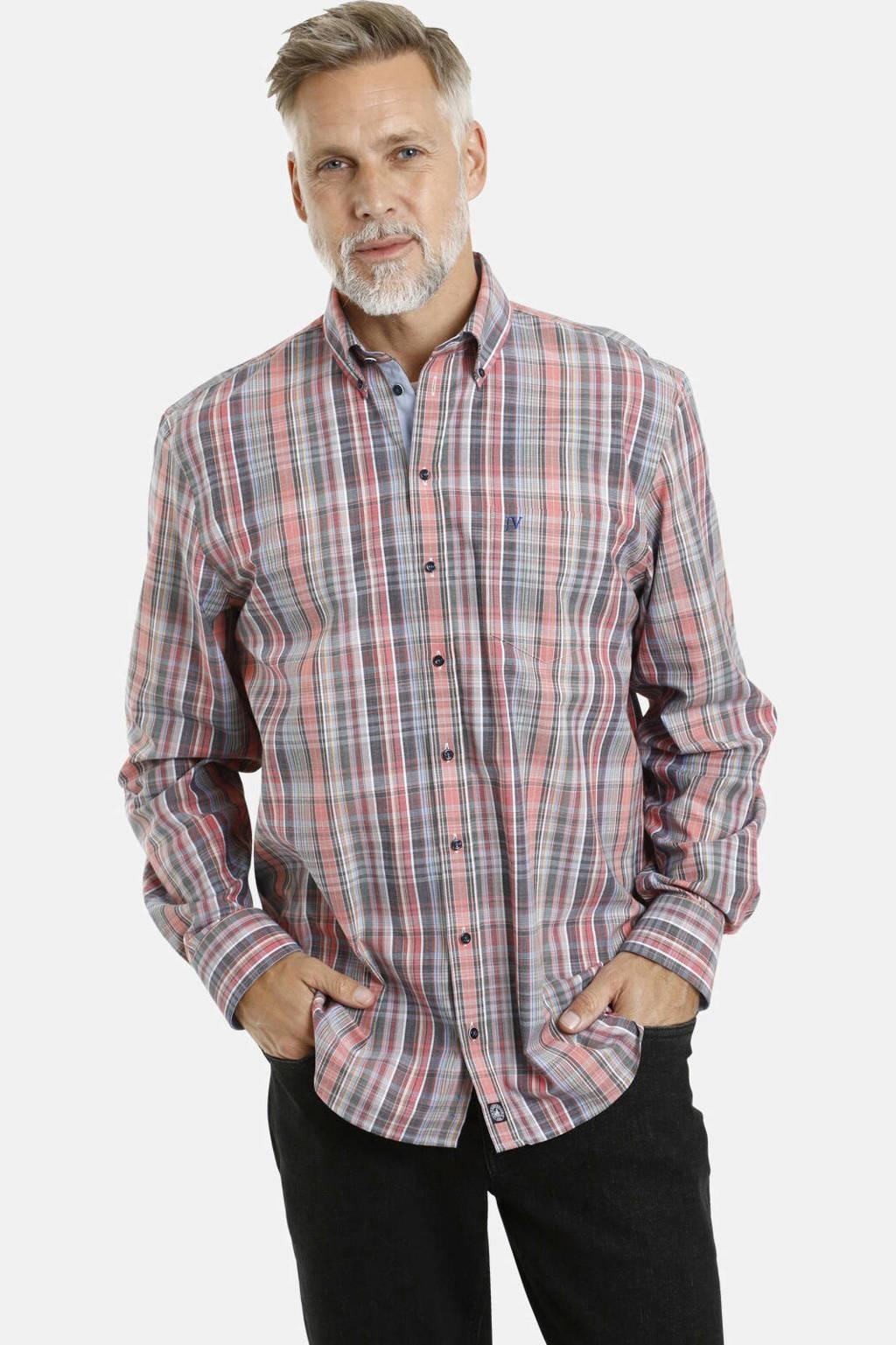 Jan Vanderstorm geruit loose fit overhemd Plus Size zalm/lichtblauw, Zalm/lichtblauw