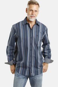 Jan Vanderstorm gestreept loose fit overhemd Plus Size Kelby blauw, Blauw
