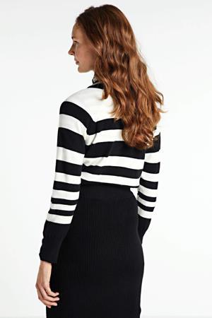 gestreepte fijngebreide trui zwart/ecru