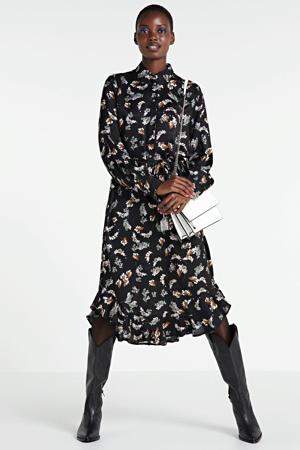 gebloemde blousejurk Sesili zwart