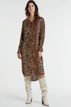 blousejurk Zaya met panterprint bruin