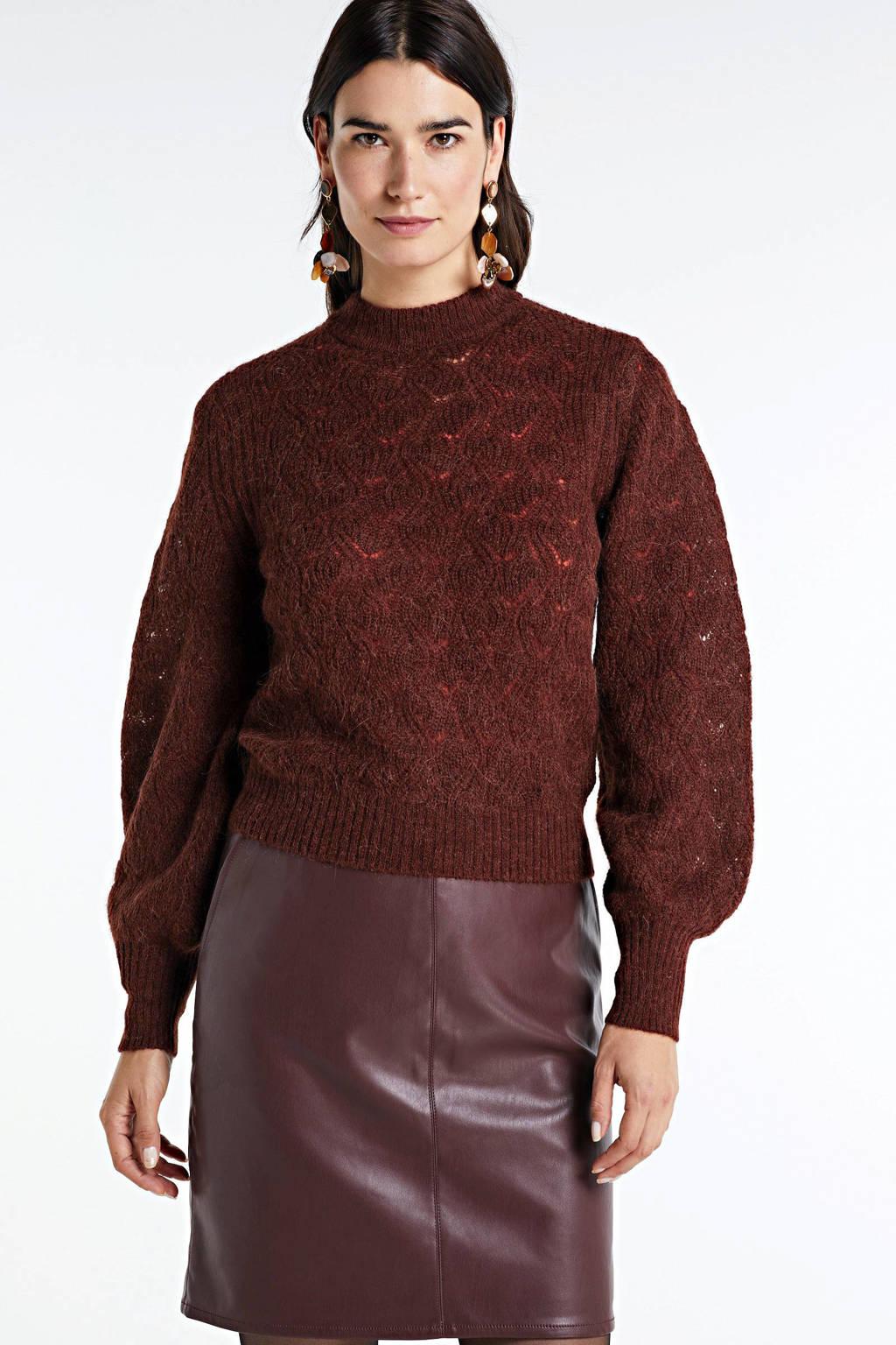 Soaked In Luxury fijngebreide trui Tuesday met wol roodbruin, Roodbruin
