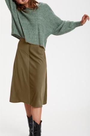 corduroy rok Lilia met textuur kakigroen