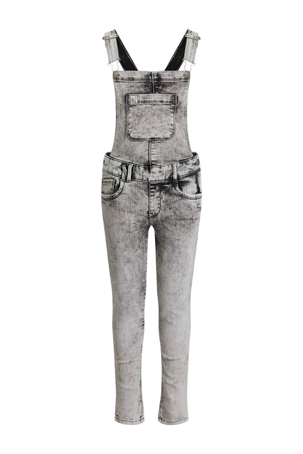 WE Fashion Blue Ridge denim tuinbroek grijs stonewashed, Grijs