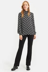 WE Fashion blouse met all over print black dessin, Black Dessin