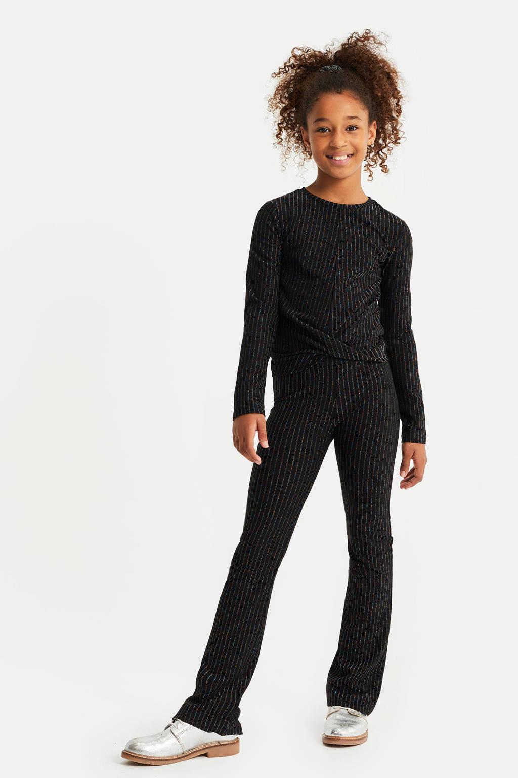WE Fashion skinny fit legging met glitters zwart, Zwart