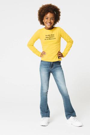longsleeve Lina met tekst geel