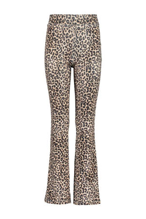 flared broek Peppa met panterprint beige/zwart