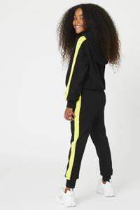 CoolCat Junior slim fit joggingbroek Cera met zijstreep zwart/geel, Zwart/geel