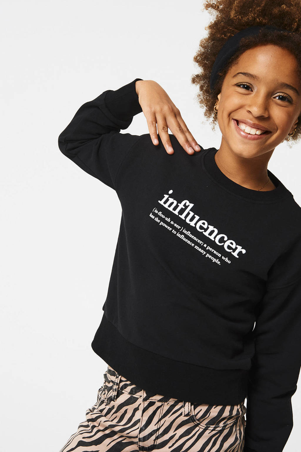 CoolCat Junior sweater Sia met tekst zwart, Zwart