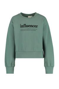 CoolCat Junior sweater Sia met tekst donkergroen, Donkergroen
