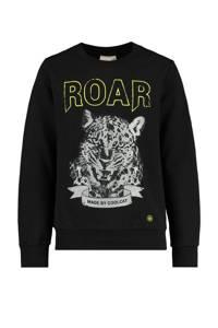 CoolCat Junior sweater Sabela met printopdruk zwart, Zwart
