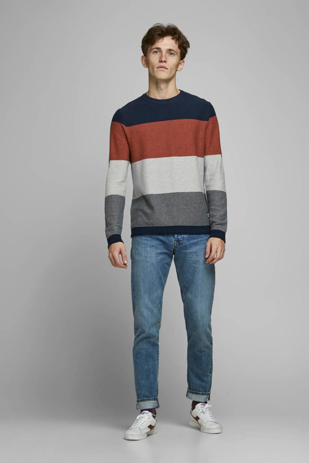 JACK & JONES ORIGINALS trui donkerblauw/grijs/oranje, Donkerblauw/grijs/oranje