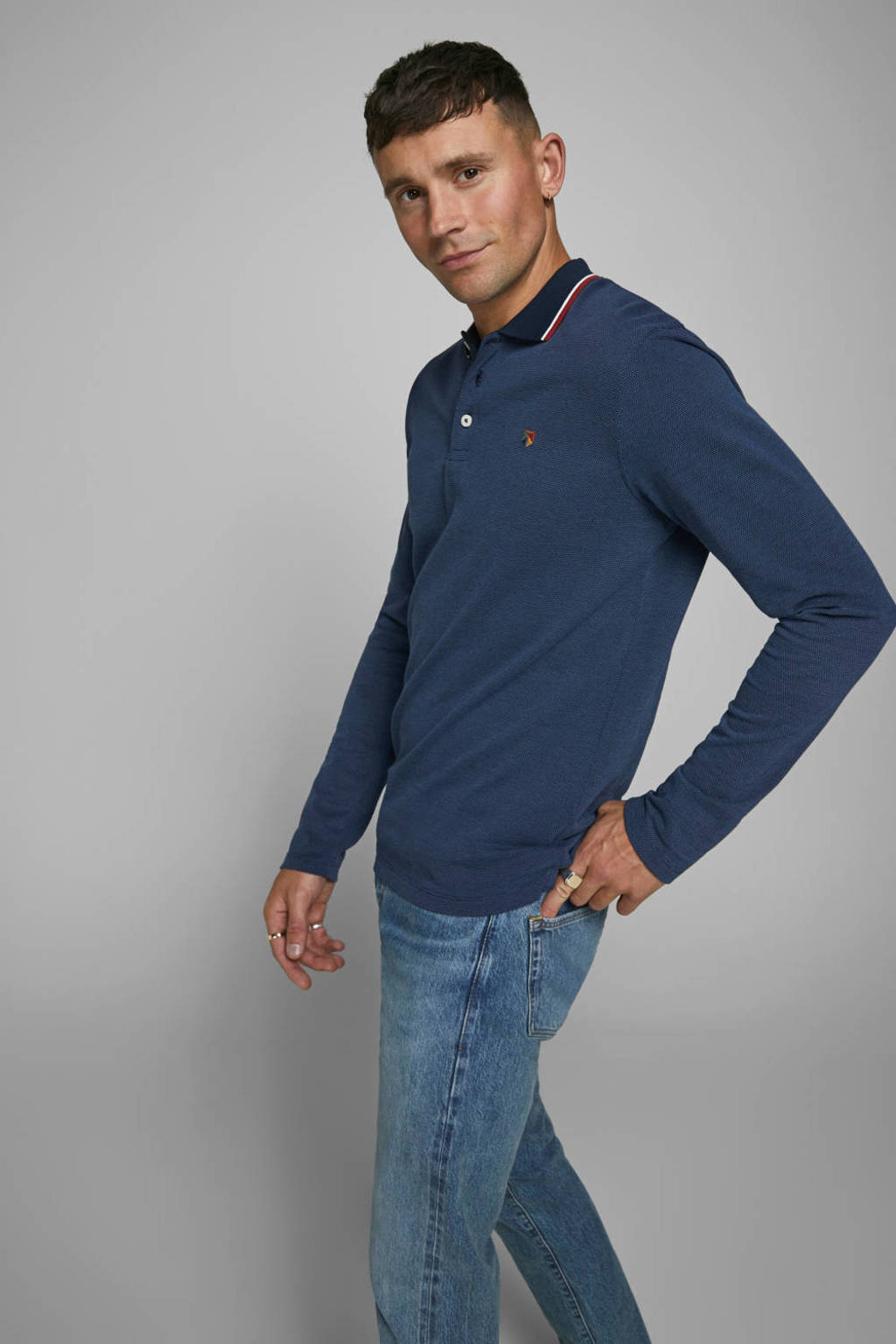 JACK & JONES PREMIUM regular fit polo donkerblauw, Donkerblauw