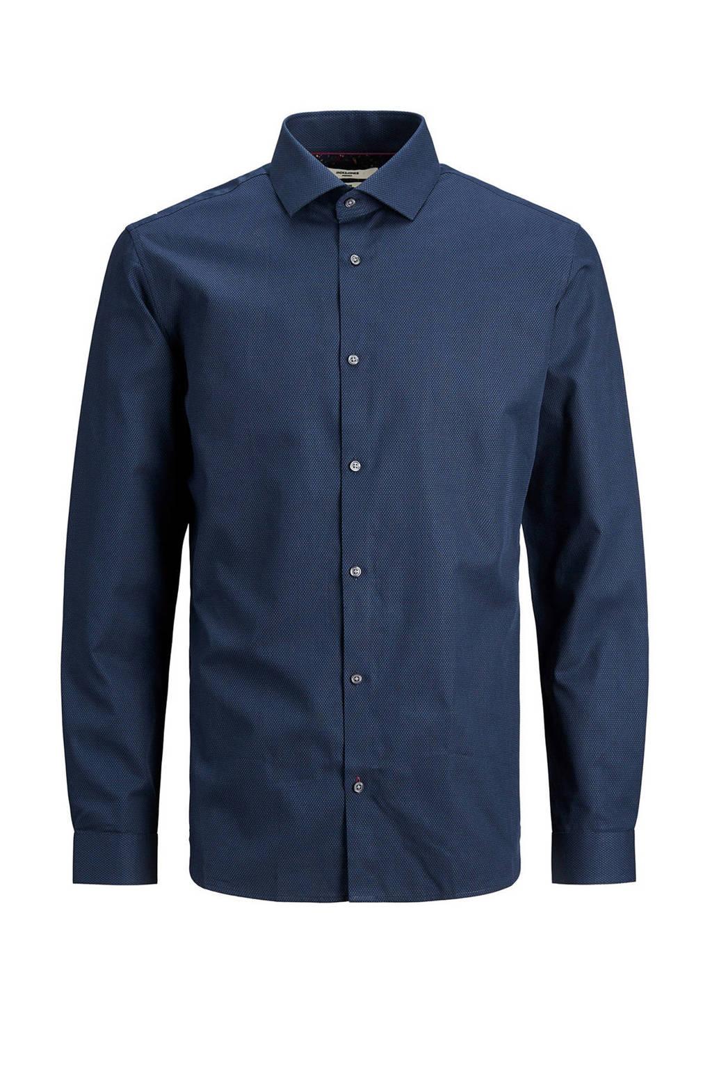 JACK & JONES PREMIUM slim fit overhemd donkerblauw, Donkerblauw
