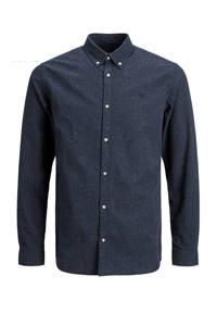 JACK & JONES PREMIUM gemêleerd slim fit overhemd donkerblauw, Donkerblauw