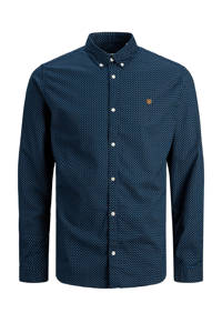 JACK & JONES PREMIUM slim fit overhemd met all over print donkerblauw, Donkerblauw