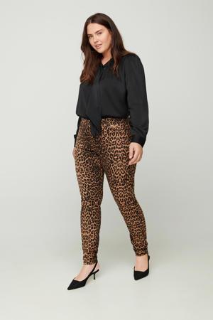 broek Amy met panterprint lichtbruin/zwart/bruin