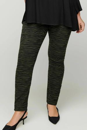 broek Amy met zebraprint donkergroen/zwart