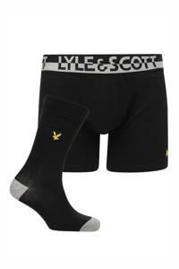 Lyle & Scott giftbox Harvey boxershort + sokken, Zwart/Zwart